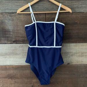 NWT ZAFUL Blue White Trim One Piece Swimsuit